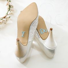 I Do shoe stickers | #exclusivelyweddings | #lightbluewedding