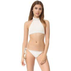 She Made Me Savarna Crochet Halter Bikini Top ($124) ❤ liked on Polyvore featuring swimwear, bikinis and bikini tops