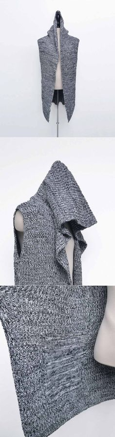 Outerwear :: Vests :: Chunky Knit Hooded Long Sleeveless Cardigan-Vest 109 - Mens Fashion Clothing For An Attractive Guy Look