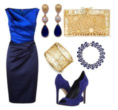 Blue cocktail by avrilmmarshall on Polyvore featuring polyvore fashion style Talbot Runhof Dolce Vita Charlotte Olympia Eye Candy clothing
