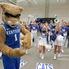 The Wildcat and cheerleaders cheered at a pep rally in the Georgia World Congress Center on Friday, March 23, 2012