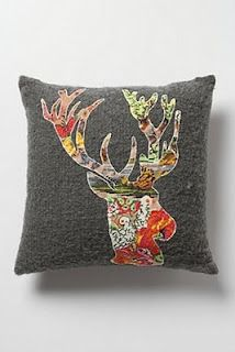 """DIY Anthropologie-inspired """"blooming deer"""" pillow.  More masculine version might be cute for boys room."""