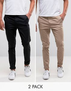 2 Pack Slim Chinos In Black & Stone SAVE - Black/ stone Asos q06Glw3FPb