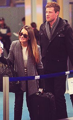 Lea Michele and Cory Monteith on their way back from a romantic snowboarding trip over Thanksgiving. #monchele