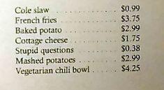 "هذا العشاء يفرض على عملاءه ضريبة تبلغ 38 سنتًا ""سؤال غبي"" - Reali ritual Vegetarian Chili, Cottage Cheese, French Fries, Mashed Potatoes, Lol, This Or That Questions, Funny, French Fries Crisps, Whipped Potatoes"