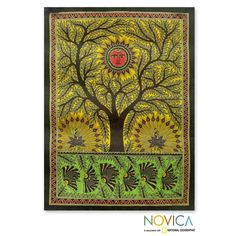 Bright color courses through this painting of the tree of life, venerated by the people of Mithila. Devendra Kumar Jha works with natural dyes on handmade paper to create a joyous Madhubani painting.