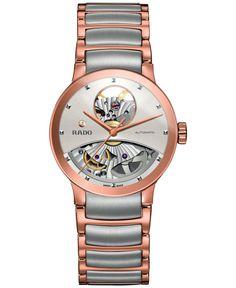 Rado Women's Swiss Automatic Centrix Open Heart Two-Tone Pvd Stainless Steel Bracelet Watch 33mm R30248012