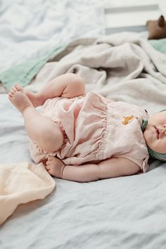 Beautiful Handmade Embroidered Linen Baby Romper | Lapetitealice on Etsy