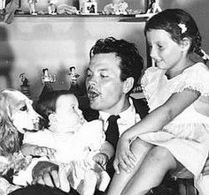 Orson Welles with his children, Rebecca and Christopher