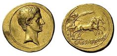 Augustus. AV Aureus. 7,68 gr. No legend, bare head right / CAESAR DIVI F, Victory holding palm branch, in galloping biga right.