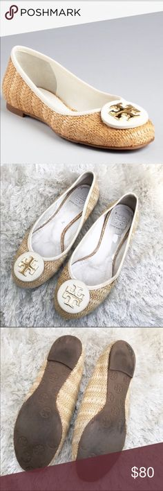 """Tory Burch REVA Raffia Straw Ballet Flats 8.5 Tory Birch Gold Tone """"Reva"""" w White Round Leather Adornment On Toe. In GOOD USED Condition: PLEASE INSPECT ALL PHOTOS FOR WEAR!!! A little extra wear on the Rt Heel From Driving. Straw/Rafia Natural Woven Upper Trim... Size 8.5 Stamp Inside by Pinky Toe! GREAT for Spring! 💐🌸💐 matches almost anything! Tory Burch Shoes Flats & Loafers"""