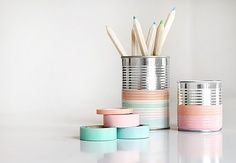 Cute pencil holder made out of a soup can & washi tape.