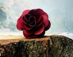 Wooden Flowers Wedding burgundy maroon wine diy bouquet decor floral supply natural flowers rustic 12 pcs rose stemmed on wire cheap stiff