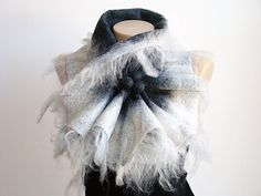 Hey, I found this really awesome Etsy listing at https://www.etsy.com/listing/244070765/white-dark-gray-wool-scarf-neckpiece