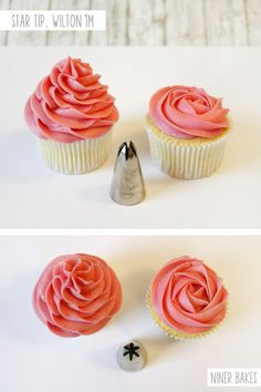 {Cupcake Decorating} Basic Icing/Frosting Piping Techniques: How to frost cupcak… {Cupcake Decorating} Basic Icing/Frosting Piping Techniques: How to frost cupcakes with piping tips Cupcake Creme, Cupcake Piping, Cupcake Cakes, Cupcake Frosting Tips, Icing Cupcakes, Kid Cakes, Book Cakes, Icing Frosting, Frosting Recipes
