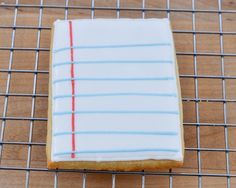 Love these notebook paper cookies.