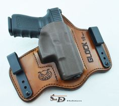 Stitch Dex Holsters - for Glock but totally wrong style for me. Pistol Holster, Leather Holster, Tactical Equipment, Tactical Gear, Concealed Carry Holsters, Gun Cases, Military Guns, Leather Projects, Leather Working