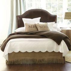 Master bedroom...love white coverlet and burlap bedskirt