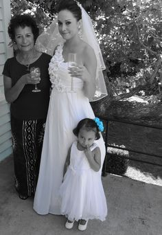 photo of my Sis, Niece and their Nan moments before the Wedding. My Niece looks cute in this picture.