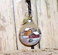 Christmas Ornament Hand Painted Primitive Folk Art by raggedyjan, $6.98