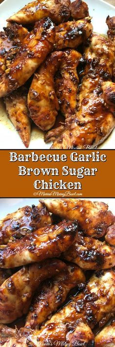 Barbecue Garlic Brown Sugar Chicken is a smoky, slightly sweet chicken with just. Barbecue Garlic Brown Sugar Chicken is a smoky, slightly sweet chicken with just a bit of spice. The flavors are per Comida Fusion, Brown Sugar Chicken, Barbecue Chicken, Bbq Chicken Marinade, Bbq Chicken Wings, Chicken Barbecue Sauce Recipe, Recipe Chicken, Bbq Chicken Tenders Baked, Bbq Chicken Side Dishes