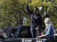 Hundreds of thousands of fans filled downtown to watch the Kansas City Royals World Series victory parade Tuesday, Nov. 3, 2015. Royals second baseman Ben Zobrist cheers and pumps his fist as he rode in the parade.