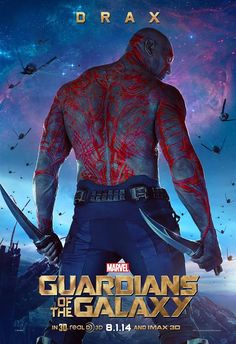 News Guardians of the Galaxy posters have been released featuring Star-Lord (Chris Pratt) and Drax (Dave Bautista); the film also stars Zoe Saldana. Dave Bautista, Star Lord, Marvel Avengers, Marvel Dc Comics, Poster Marvel, Drax Der Zerstörer, Gaurdians Of The Galaxy, Films Marvel, Marvel News