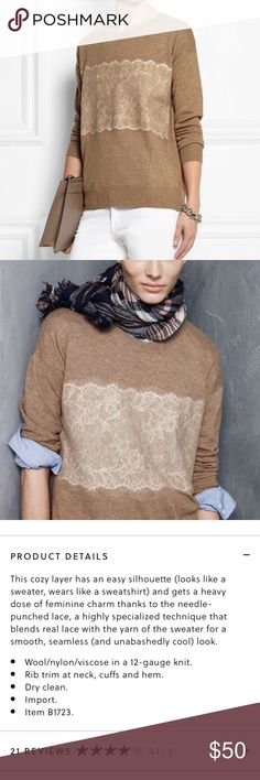 J. Crew needle punch lace sweater Great condition with some minor pilling J. Crew Sweaters Crew & Scoop Necks