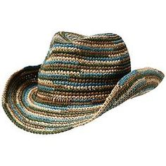 Kohala Cowgirl Hat - The crocheted straw cowgirl hat with a multicolored brim that shows its true southwestern colors.