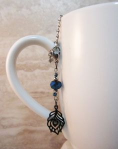 Peacock Feather Tea Infuser Charm-Beaded Charm by CamilleLaLune
