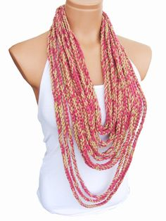 Pink Beige Crochet Scarf Necklace Latest by WomanStyleStore,