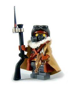 I love good post-apoc figs. Lego Ww2, Lego Soldiers, Steampunk Lego, Lego Custom Minifigures, Lego Minifigs, Lego Bionicle, Lego Design, Lego Creator, Lego Star Wars