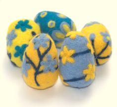 Easter felted eggs 5 felt wool Yellow blue spring by astashtoys