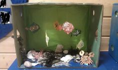 Fun activity for kindergarden. Found seashells, sand and pebbles at the beach. I cut out fishes and crabs and let them decorate them. MN