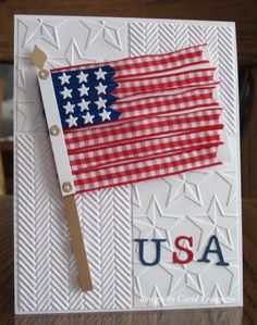 Uber cute 4th of July card - with ribbon flag:)
