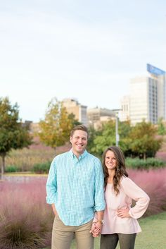 Downtown Birmingham Alabama Railroad Park Sunset Engagement Session Couples Shoot Pink Grass