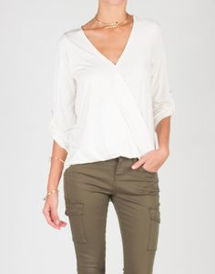 V Neck Collarless Blouse Top - Ivory | Tops | 2020AVE