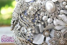 White, Ivory, Silver, Crystal, Rhinestone Pearls Brooch Bouquet by Nic's Button Buds Fabric Bouquet, Diy Bouquet, Brooch Bouquets, Seashell Bouquet, Creating Keepsakes, Button Bouquet, Pearl Brooch, Artificial Flowers, Crystal Rhinestone