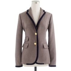 J.Crew Petite tipped hacking jacket in double-serge wool ($200) ❤ liked on Polyvore