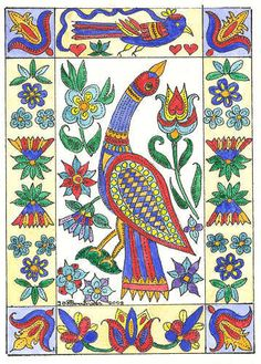 {colors} Fraktur ACEO Bird Flowers Tulips by Theodora by THEODORADESIGNS