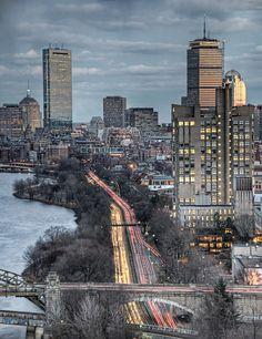 Solid-Faced Canvas Print Wall Art Print entitled Wintry Boston skyline by Charles River, Massachusetts San Diego, San Francisco, San Antonio, Nova Orleans, Nashville, Orlando, Boston Usa, Boston Skyline, New England States