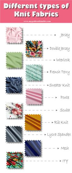 Do you know the right type of knit fabric to use on your knit fabric project? In this list you will find the different type of knit fabrics and tips to know the best uses for each one of them Sewing Hacks, Sewing Tutorials, Sewing Tips, Sewing Basics, Easy Sewing Patterns, Fabric Patterns, Felt Fabric, Knitted Fabric, Fabric Squares