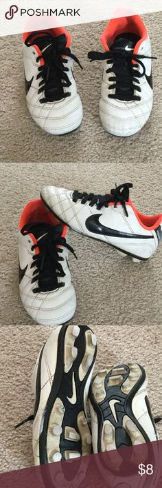 Nike Tempo Boys Cleats Size 13C made in Vietnam.  Some scuff marks on front and back.  Still have wear.  Lace up the front.  Cushioned insoles. Nike Shoes Sneakers