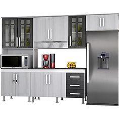 Cozinha Compacta Indekes Lia 4 Peças: Paneleiro, Armário Aéreo, Armário Geladeira e Balcão