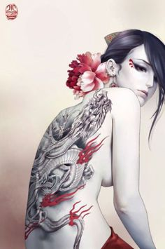 No Title_By Zhang Xiao Bai (Dragon) Xiao Bai is a Chinese female artist that is skilled at drawing beautiful women. She often includes tattoos on her women who are drawn in a style mixed of realism and manga (less sharp lines, more detail).  She currently works in Singapore as a female character artist.