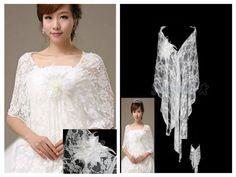 Elegant White Chiffon Lace Wrap Shrug Bolero with Flower Wedding Prom Party   #BolerosShrugs