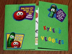 Veggie Tales ~ Tot-Book.  Another church quiet book idea.  This site has tons of tot book ideas.