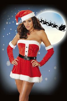 7d4d17d9191 Sexy High quality Festival red women christmas costumes ladies santa outfit  party lingerie dress hat+