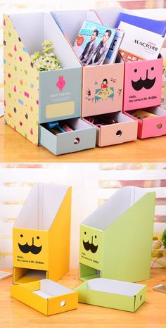 DIY Storage Box Ideas This storage boxes will delightfully decorate the childrens room, and the children will be very happy.This storage boxes will delightfully decorate the childrens room, and the children will be very happy. Diy Storage Boxes, Desk Organization Diy, Craft Room Storage, Storage Ideas, Art Storage, Cardboard Box Storage, Cardboard Organizer, Organizing Ideas, Storage Chest