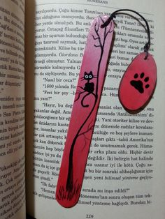 Cat bookmark, hand painted bookmarks, black cat marker,animal bookmarks, wood bookmark, cat lover gift, gray markers, express shipping by AxiKedi on Etsy